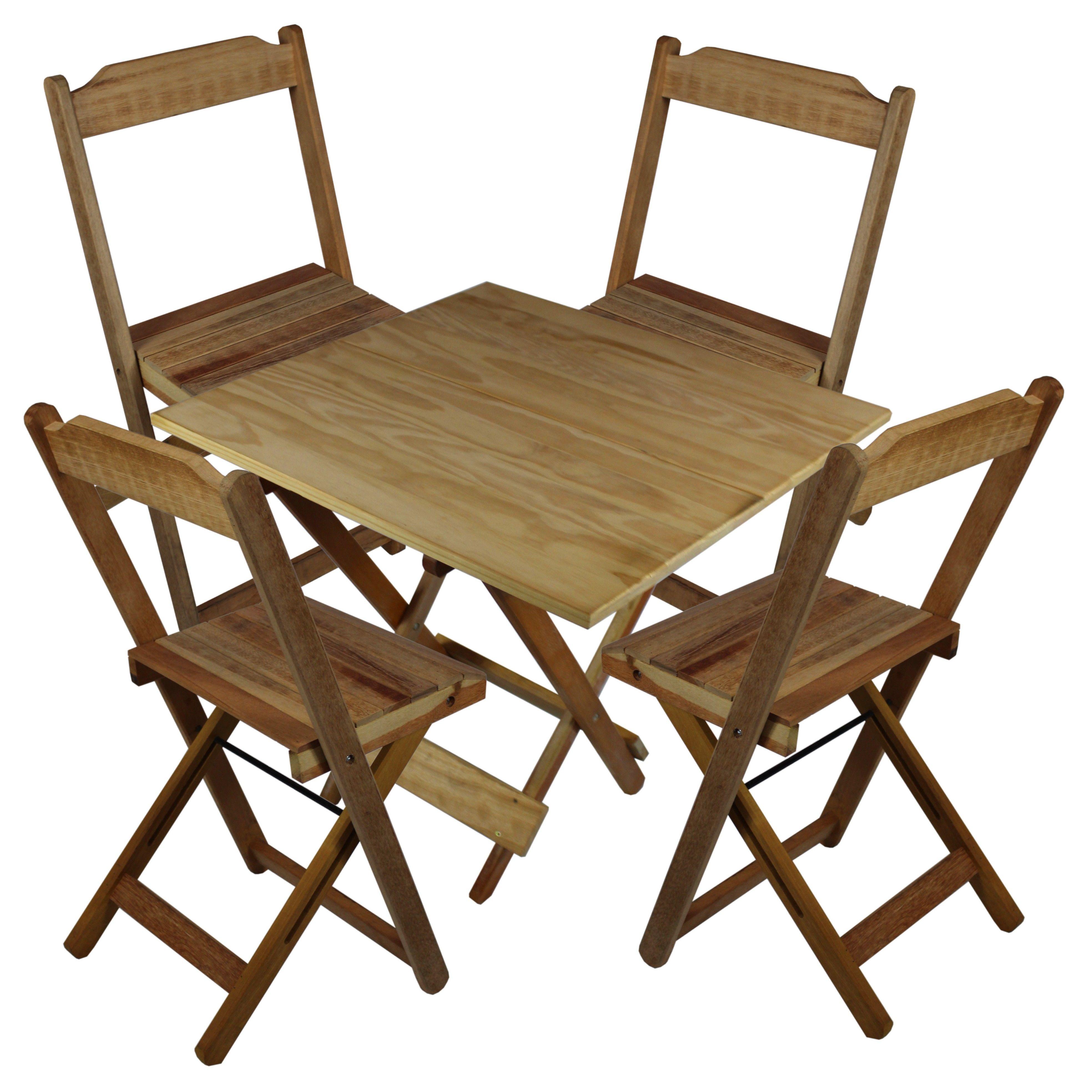 Jogo Mesa 4 Cadeiras Madeira 70 por 70 Dobrveis sem