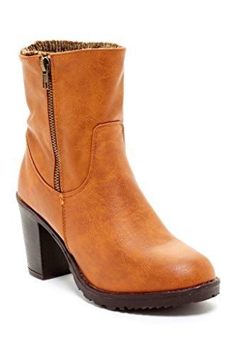 CA Collection Womens Fashion Ribbed Knit Cuff Heeled Boots
