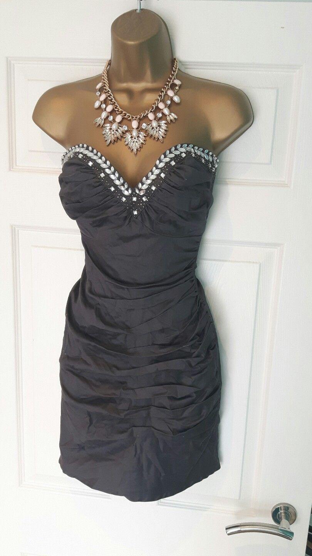 Lipsy grey embellished yewelled bodycon dress size sexy party