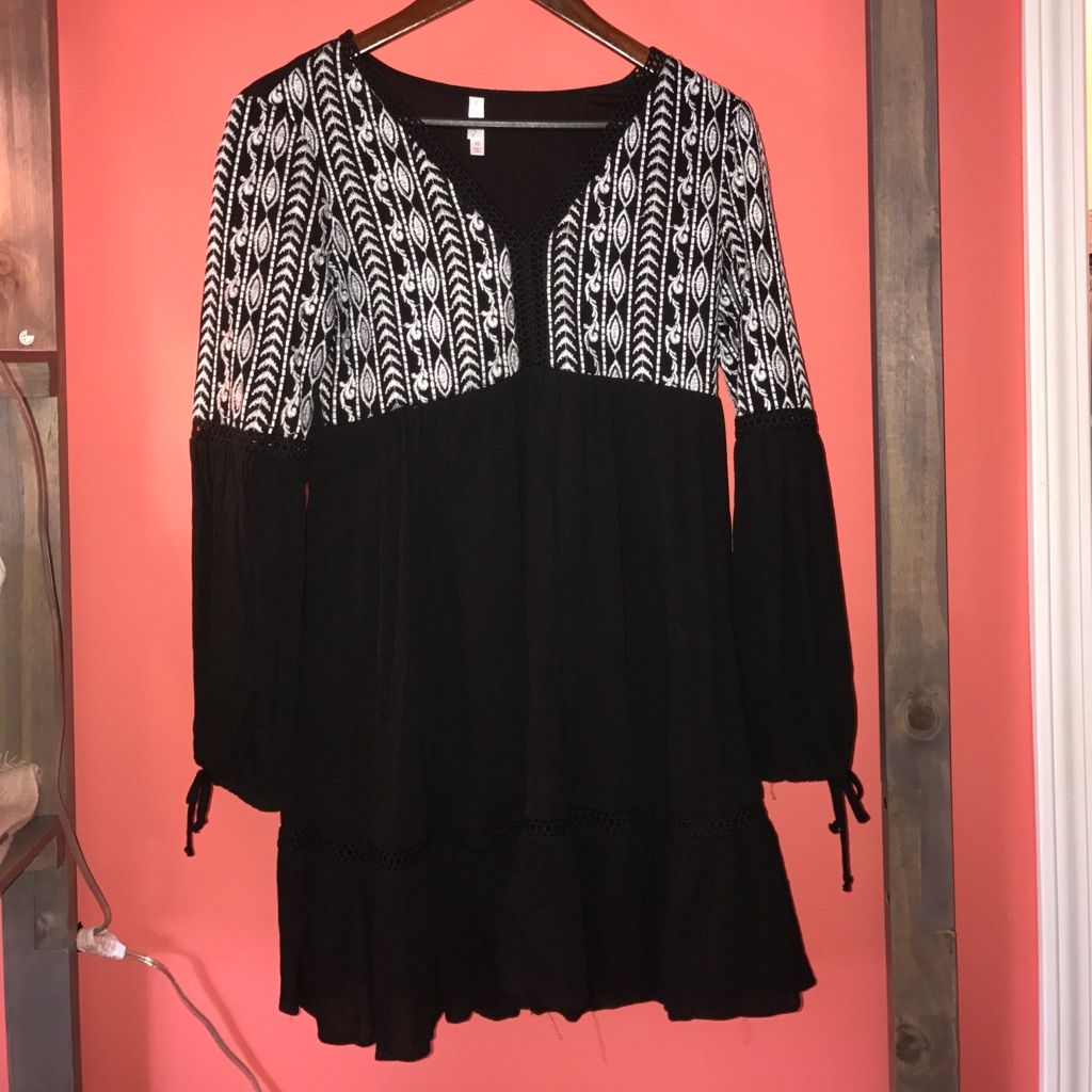 Black embroidered dress products