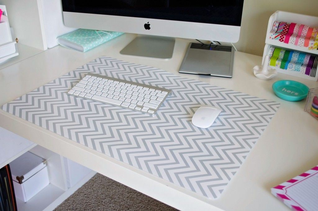 Ikea Desk Pad Covered With Grey And White Chevron Contact