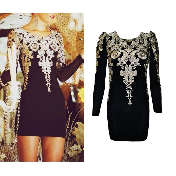 fashion gold Embroidered black Vintage Puff Sleeve Dress from FE CLOTHING