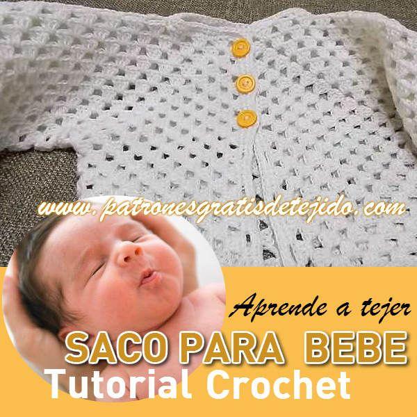 saco facil para bebe tejido al crochet tutorial | Ropa de bebés y ...