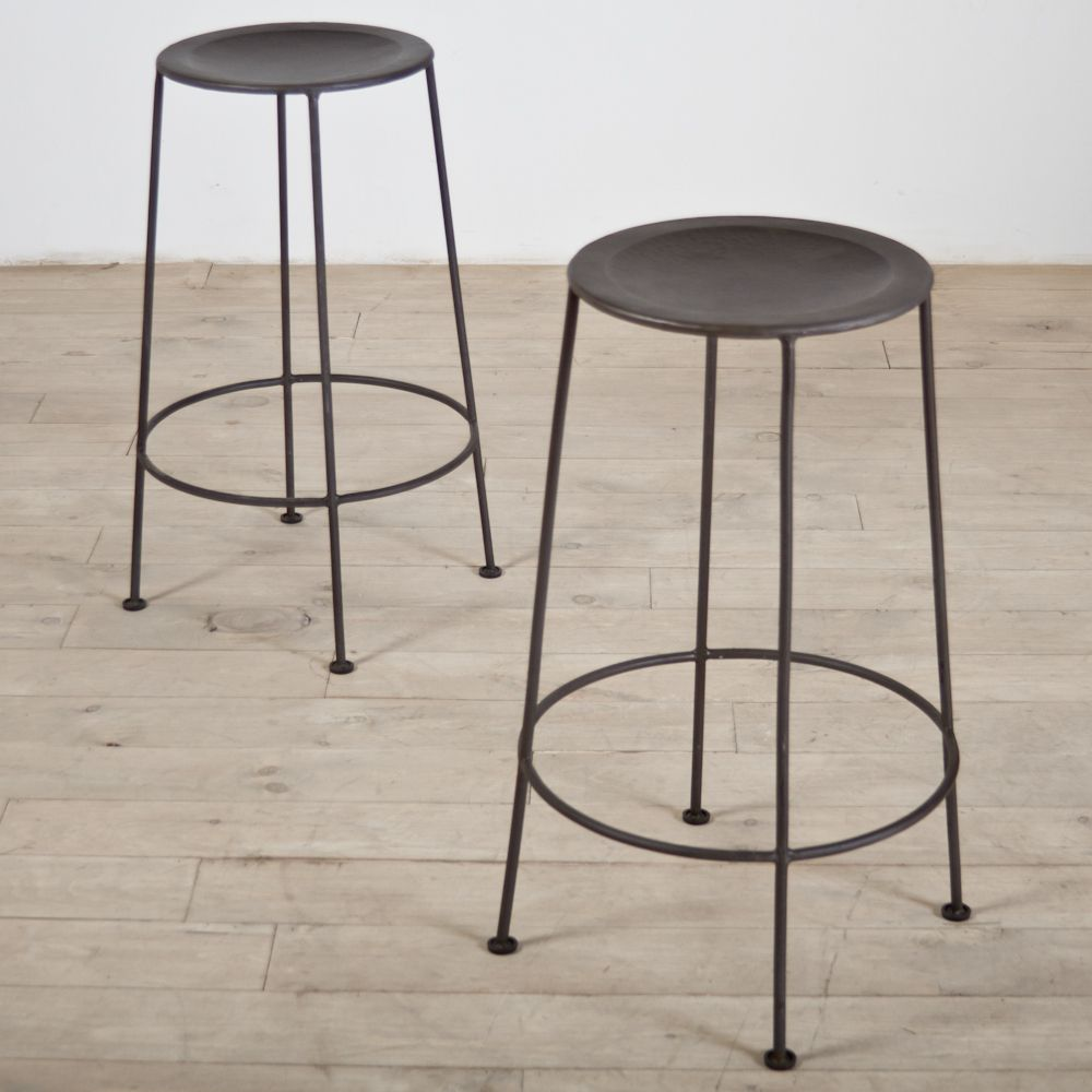 Set of 2 Iron Zinc-finish Counter Stools (India) for $164.99 - Overstock : kitchen stool india - islam-shia.org