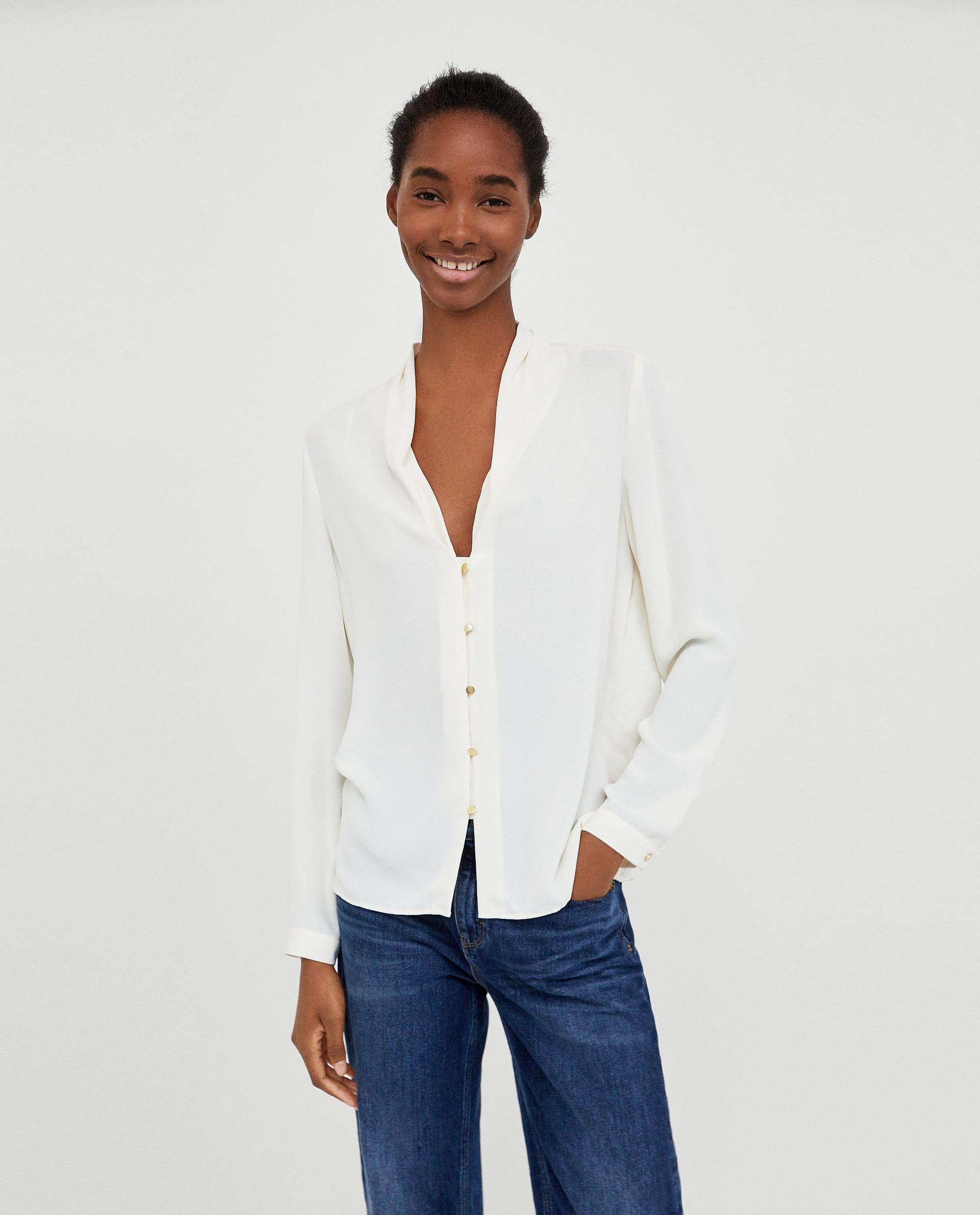皺褶領口罩衫   Women shirts blouse, Vetements fashion, Casual ...