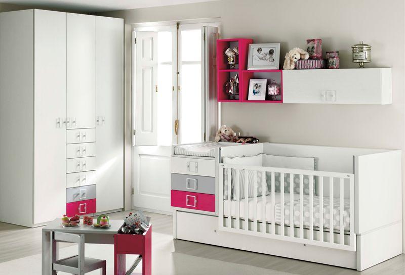 Cuna Convertible Ros Blanco Gris Fucsia - New 12 | cama cuna ...