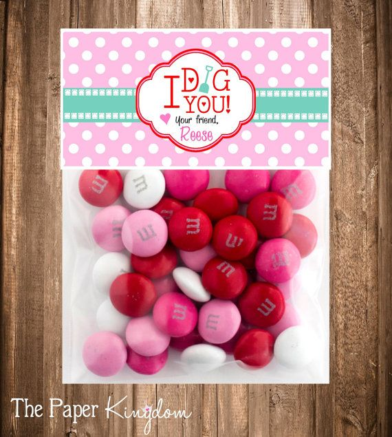 Printable Valentine Bag toppers I Dig you Bag by thepaperkingdom
