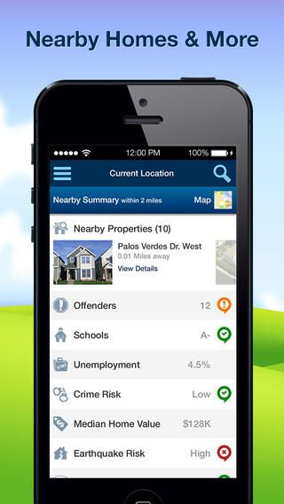 """""""HomeFacts"""" app App, Current location, App store"""