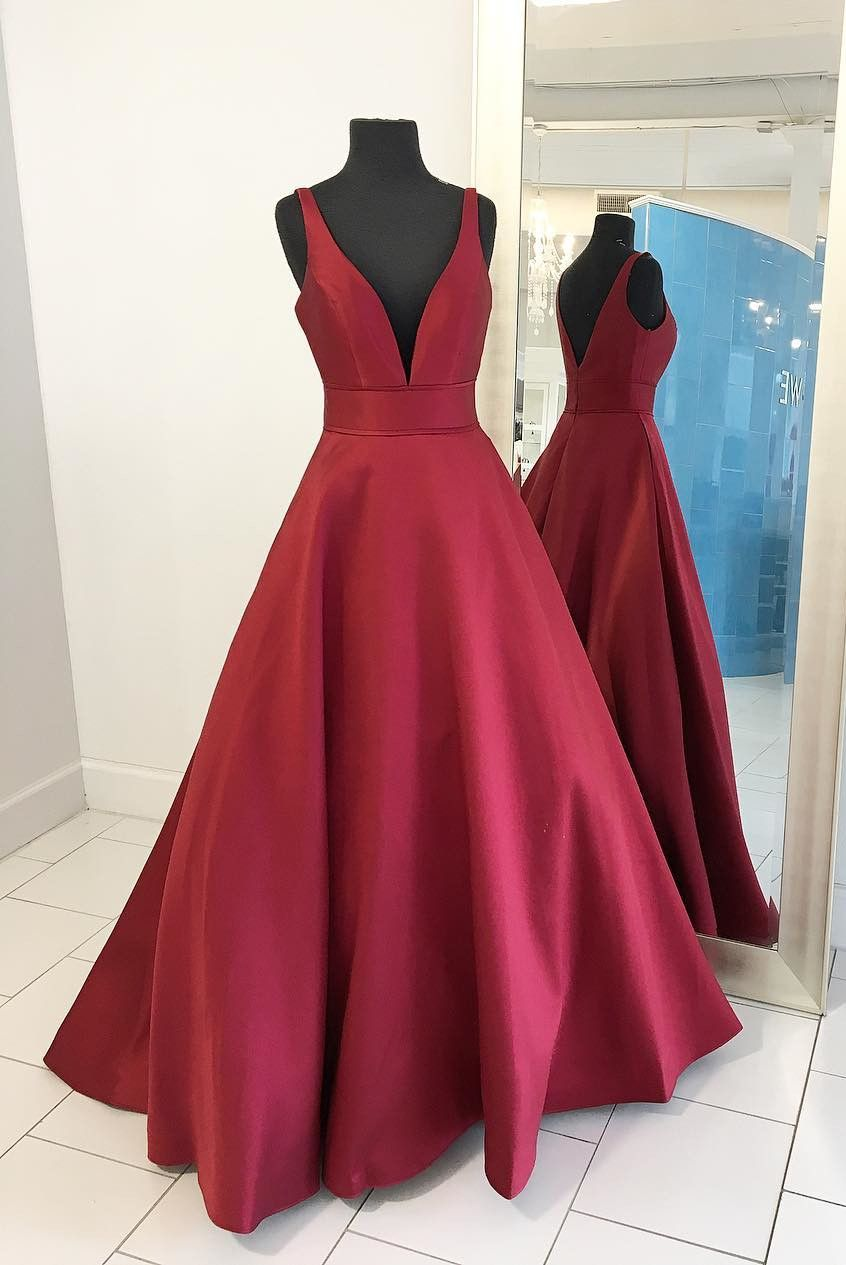 Simple aline v neck long prom dress ball gown from modseleystore