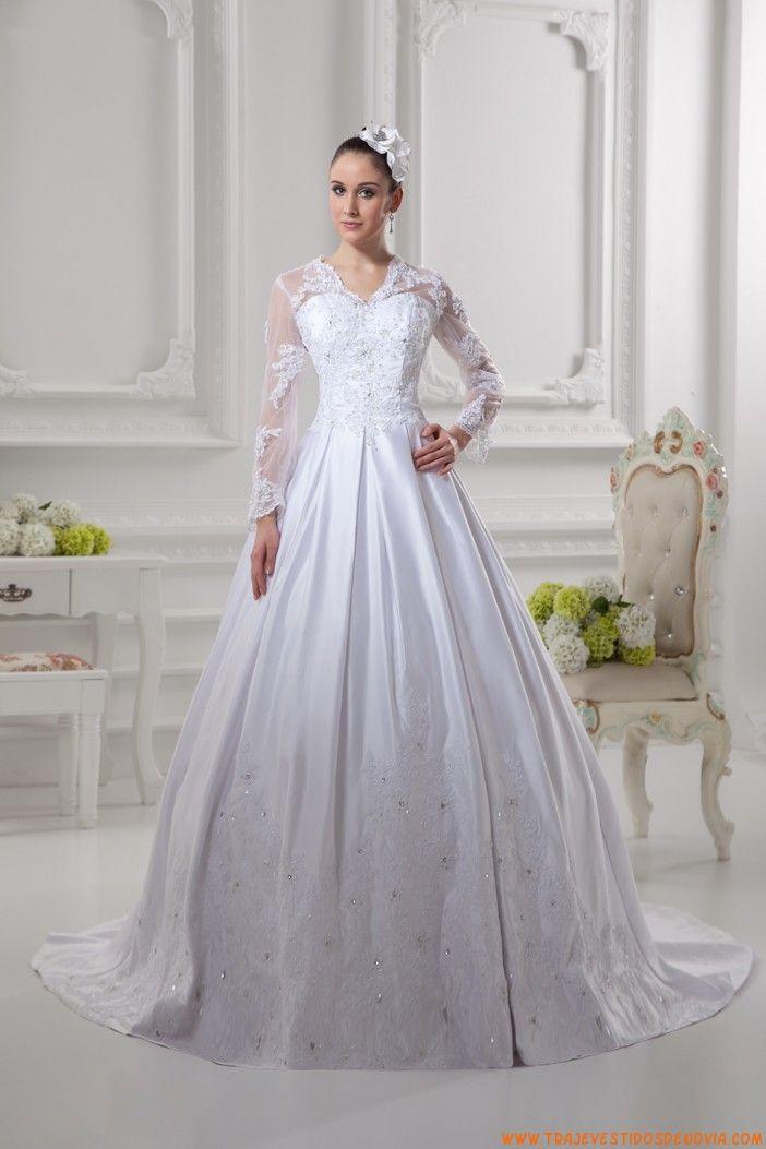 e9374c14f2 vestido de novia manga largas de encaje y satin