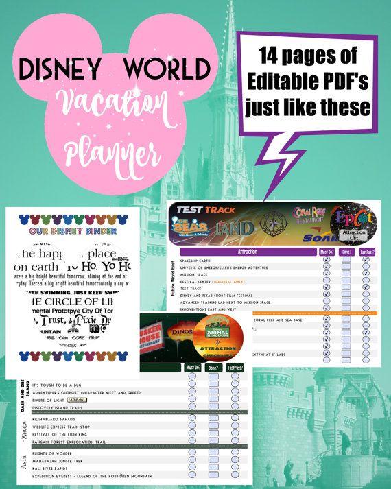 disney world vacation planner binder set for 8 day trip instant