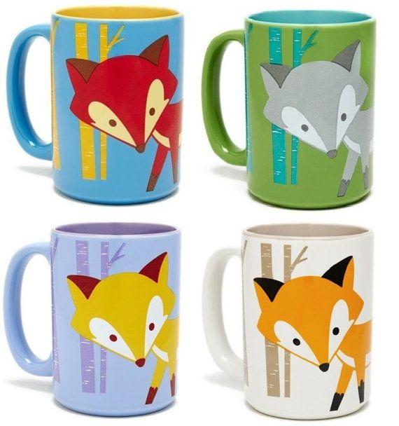16oz Foxy Fox Ceramic Mug Kitchen Coffee Tea Cup Woodland Forest Wild Animal Coffee Kitchen Mugs Ceramic Mug