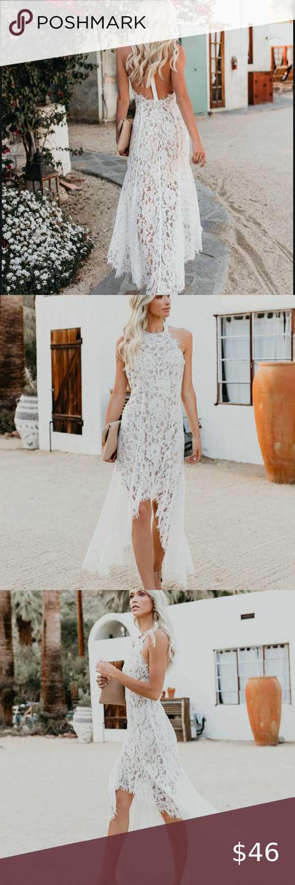 High Low White Lace Dress Lace White Dress Lace Dress Dresses [ 1740 x 580 Pixel ]