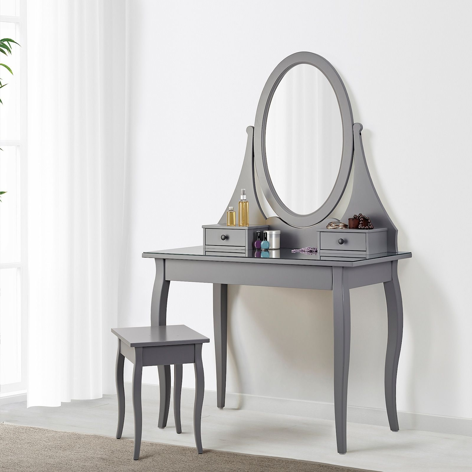 HEMNES grey, Dressing table with mirror, 100x50 cm - IKEA