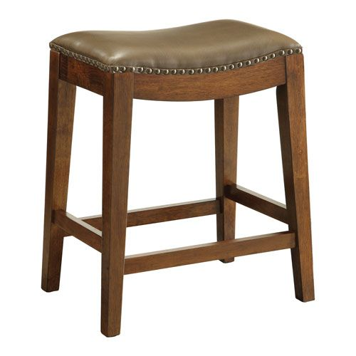 Metro 24-Inch Saddle Stool with Nail Head Accents and Espresso Finish Legs with Molasses Bonded Leather