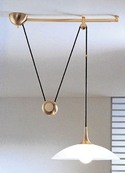 Adjustable suspension height via a counterweight and a pulley system.  Dining Room  Pinterest