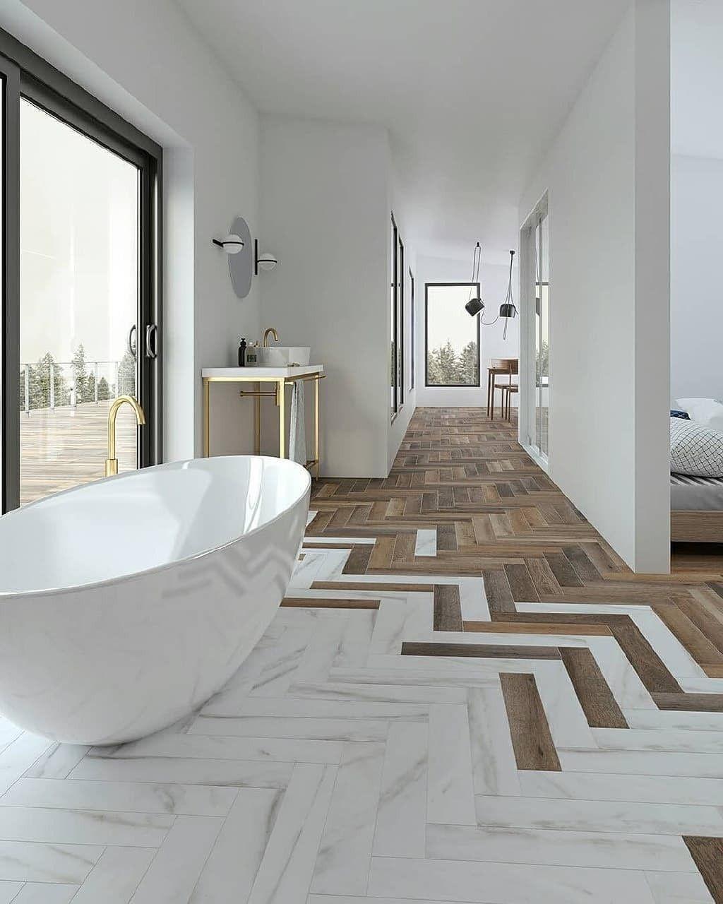 Photo of Moderne luksuriøst badekar med ekstraordinære fliser