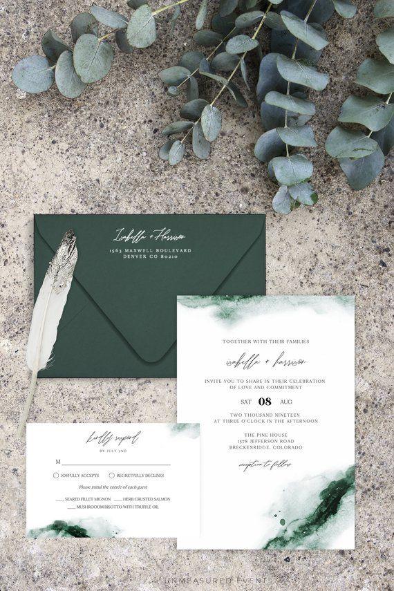 Emerald Abstract Green Watercolor Wedding Invitation Template Suite Green Wedding Invitations Watercolor Wedding Invitations Emerald Wedding Invitations