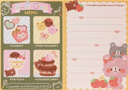 cute fragrant animal memo pad from Japan with bears, donuts, cakes, desserts and chocolate scent
