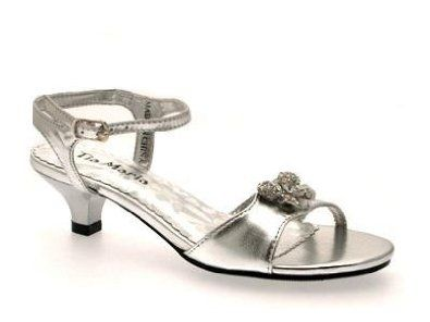 GIRLS LOW HEEL DIAMANTE WEDDING BRIDESMAID PARTY GOLD SILVER SHOES HEELED SANDALS Junior Sizes 8