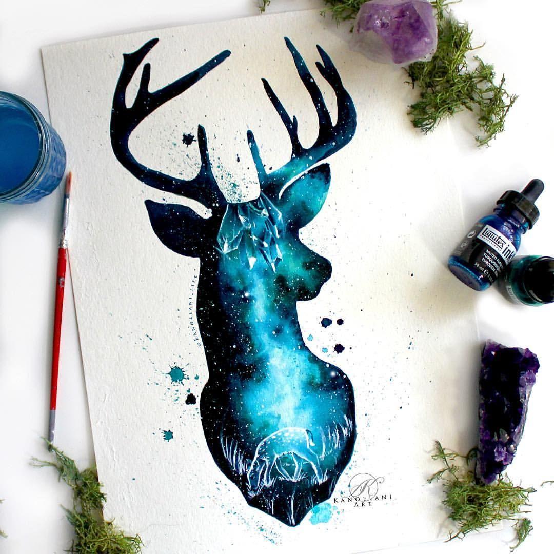 Galaxy Watercolor Deer Painting From Kanoelani Life On Instagram