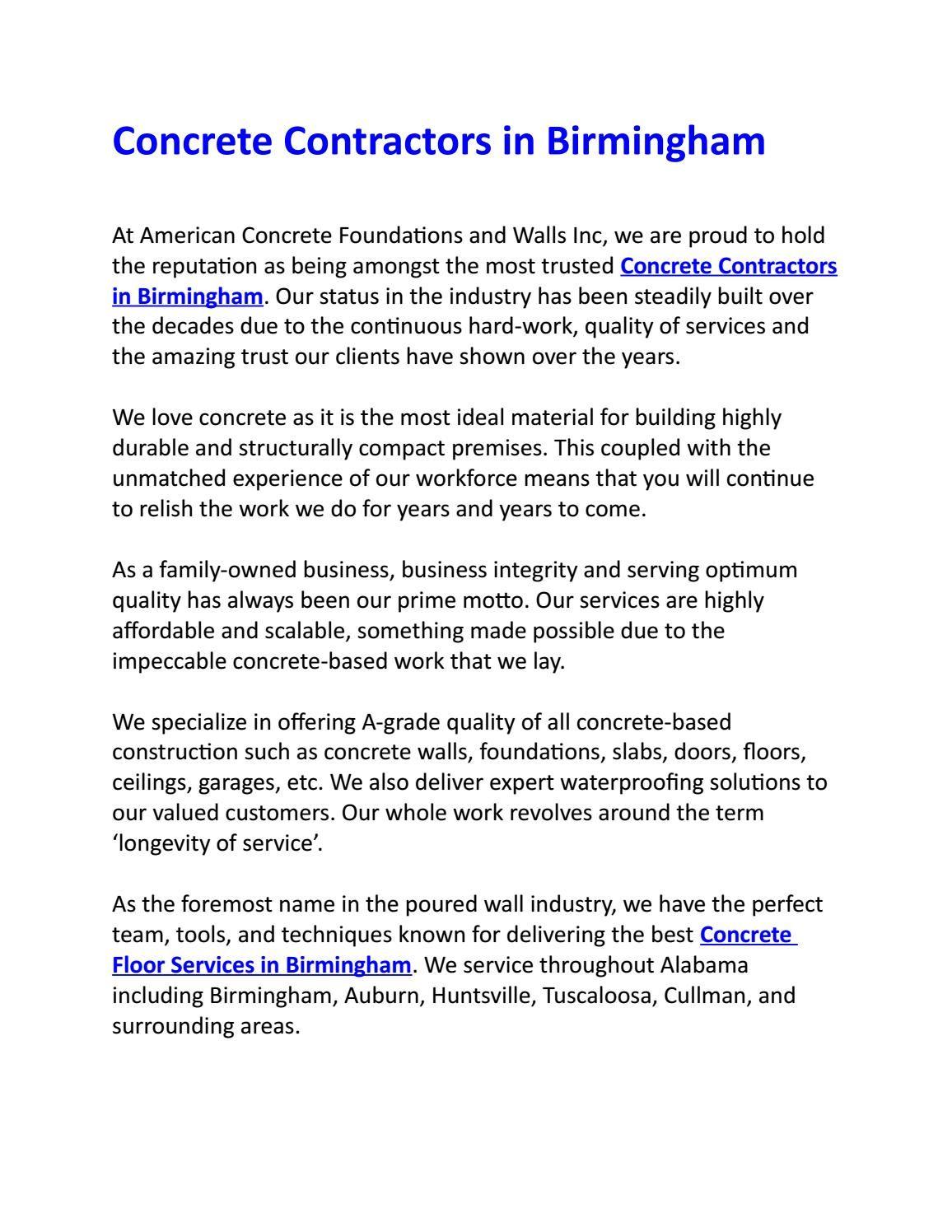 Best Real Concrete Contractors In Birmingham Concrete Contractor Contractors Birmingham