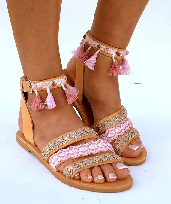 Cuero sandalias Boho CYMONE sandalias de verano