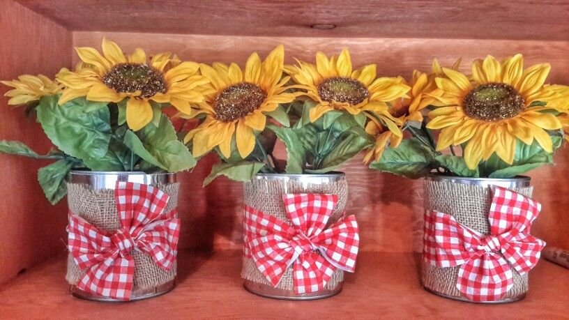 Tin cans centerpieces with burlap gingham fabric and silk