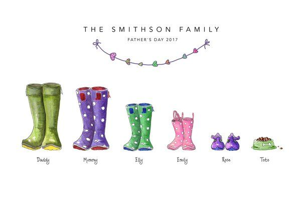 A The Original Welly Boot Family Print Family Print Wellies