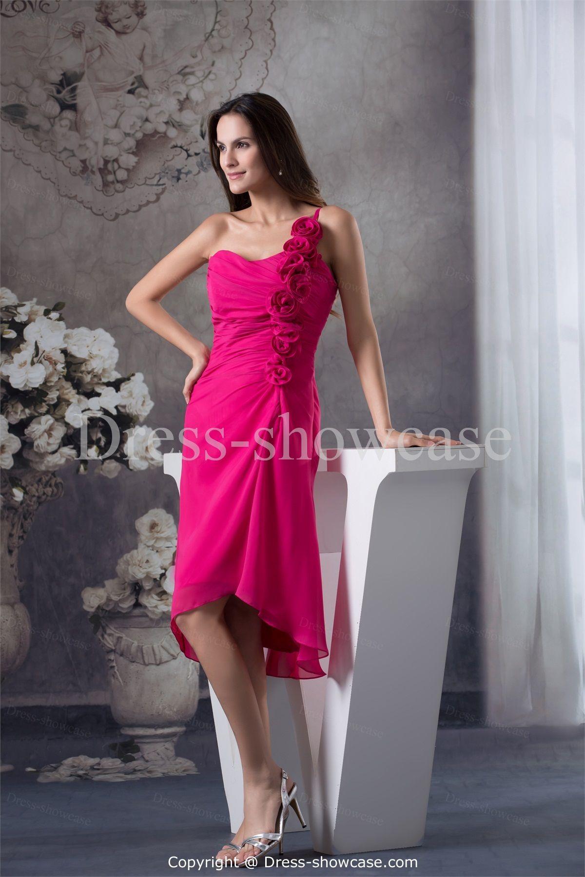 Kneelength chiffon one shoulder bridesmaid dress dresses