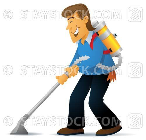 A cartoon man is using a vacuum cleaner