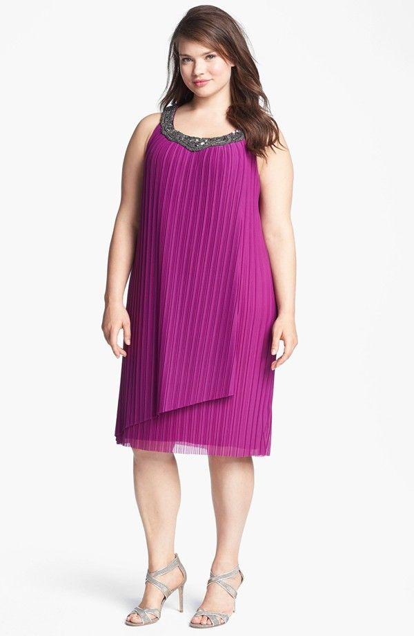 Donna Ricco Embellished Pleat Trapeze Dress (Plus Size ...