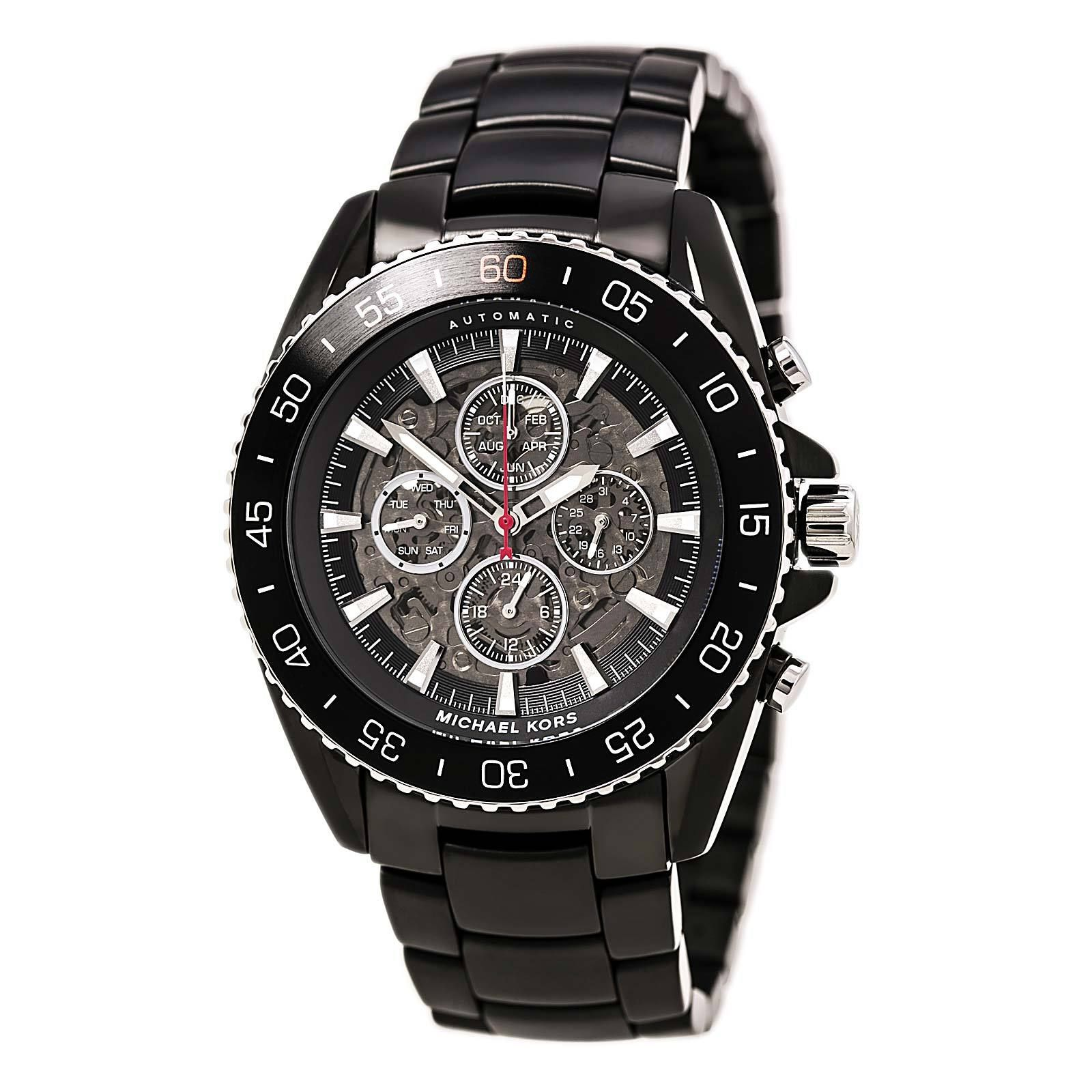 a7b1703d5 Michael Kors MK9012 Men's JetMaster Black IP Steel Bracelet Black Skeleton  Dial Automatic Watch