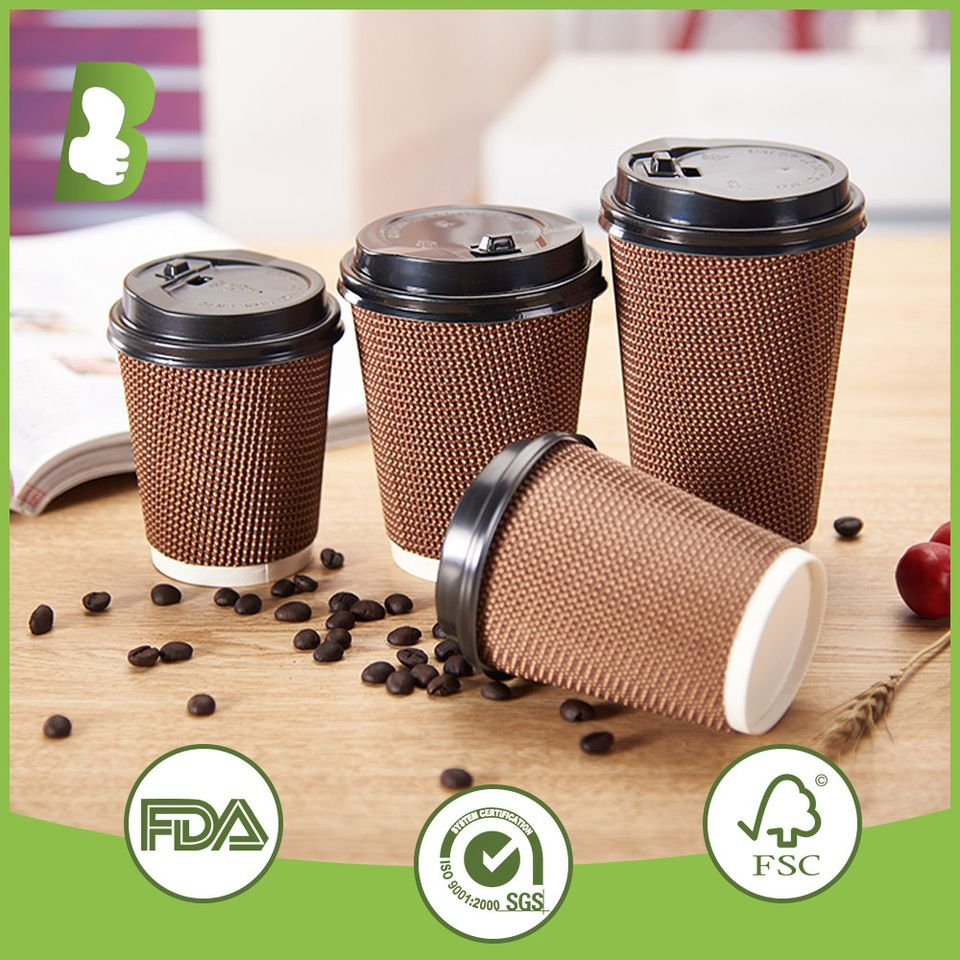4oz 8oz 12oz ribbed insulated coffee paper cup with lid
