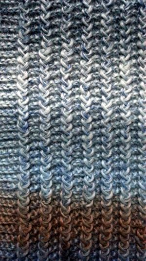 My new blue scarf. The pattern can be found at bernat.com