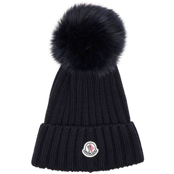 Moncler Fur Pom Ribbed Beanie 375 Liked On Polyvore Featuring Accessories Hats Moncler Pom Pom Beanie Fur Pom Pom Hat Fur Beanie Hat Fur Pom Pom Beanie