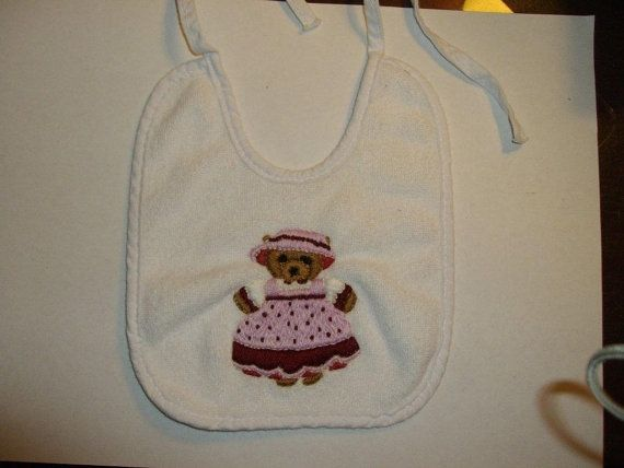 Baby Bib Hand Embroidered Teddy