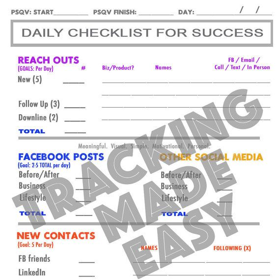 Rodan Fields Daily Checklist For Success By Trackingmadeeasy