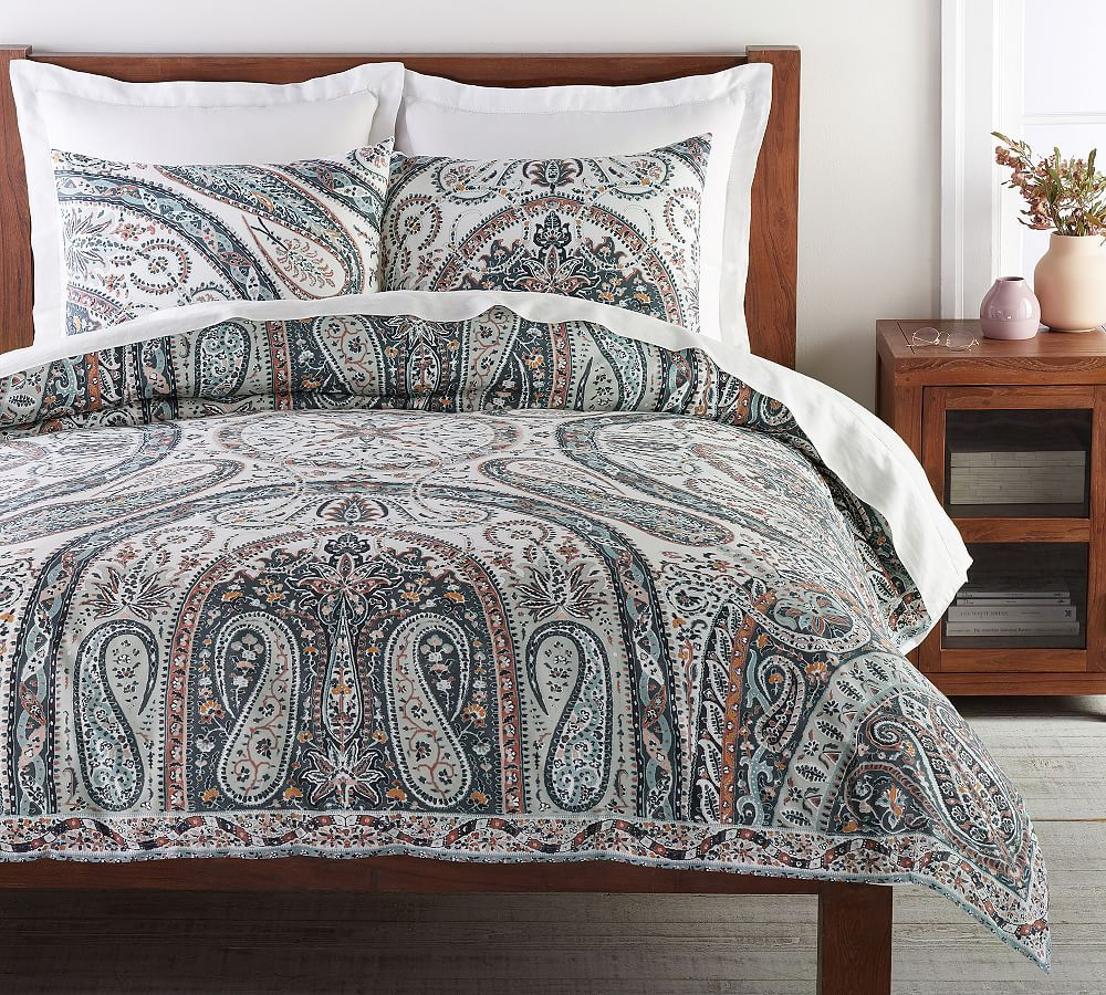 Photo of Multi Riya Paisley Organic Percale Full/Queen Duvet Cover