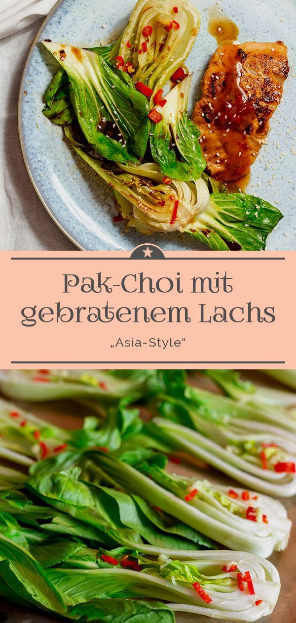 "Photo of Pak Choi from the oven with fried salmon ""Asia-Style"" – A little pinch of Anna"