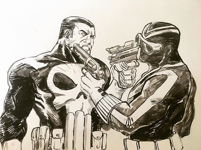 Punisher vs Vigilante by Breno Tamura  #punisher #vigilante #marvelcomics #dccomics #commission #chiaroscurostudios #ccxp2016