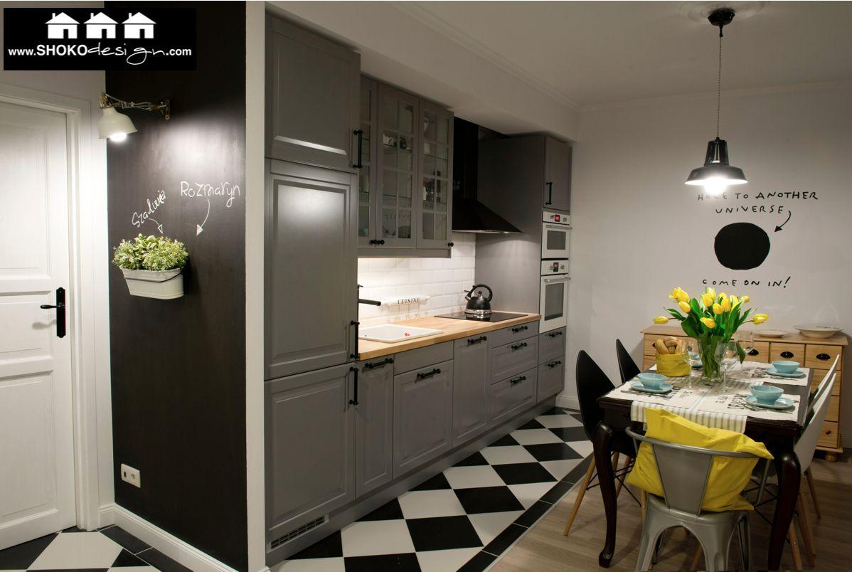 Www Shokodesign Com Kitchen Szara Kuchnia Wyglada Dosc Ciemno Przy Sztucznym Swietle Do Przyslenia Living Room Kitchen Kitchen Living Kitchen Design