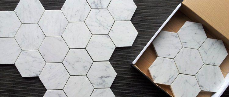 carrelage hexagonal tendance id es de couleurs et designs marble tile pinterest. Black Bedroom Furniture Sets. Home Design Ideas