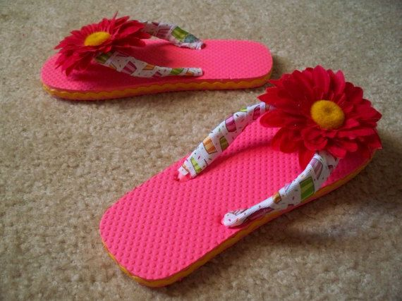 6f8a64d46d0e Girls  Coral colored flip flops with by SimplyUnforgetable4U