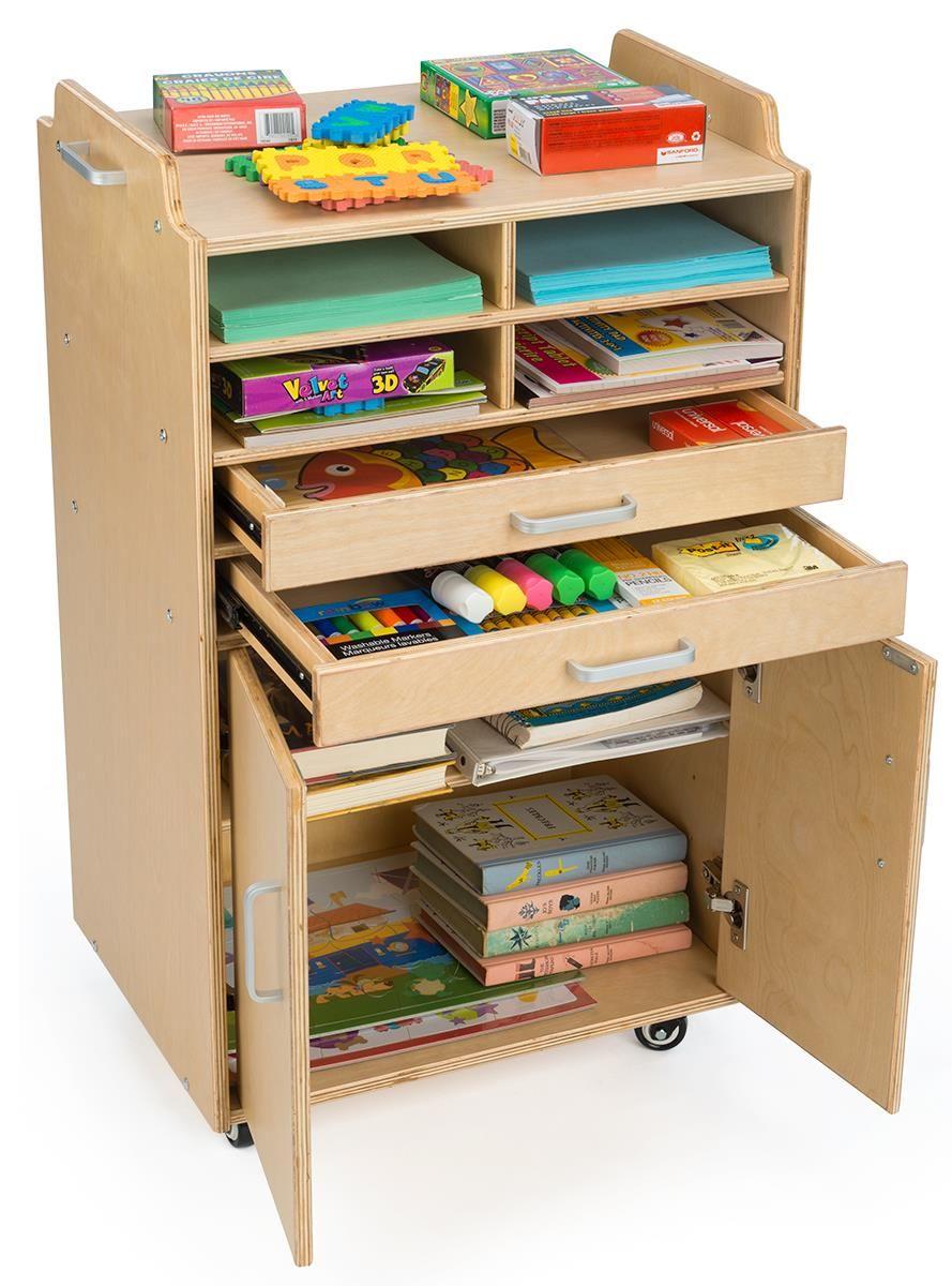 Storage Cart W Hinged Doors 2 Sliding Drawers 4 Compartments Wheels Natural Diy Cardboard Furniture Storage Cart With Drawers Diy Storage