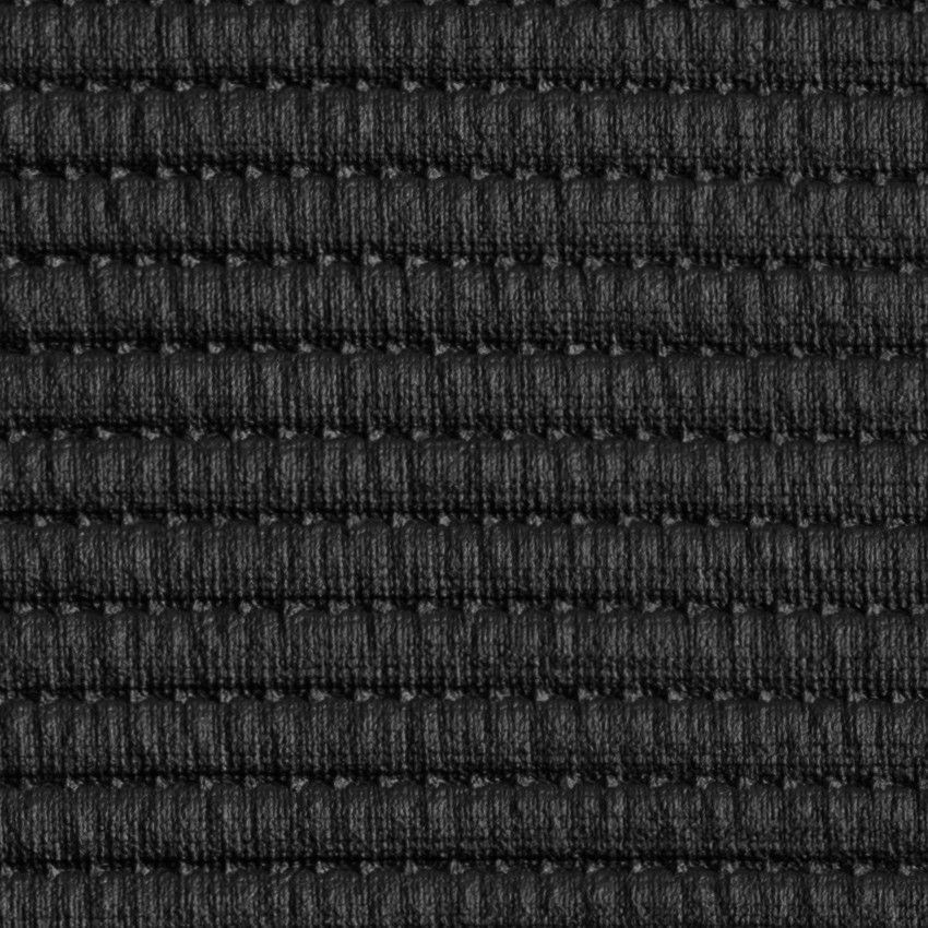 Black Rib Quilted Stretch Faux Leather Faux leather
