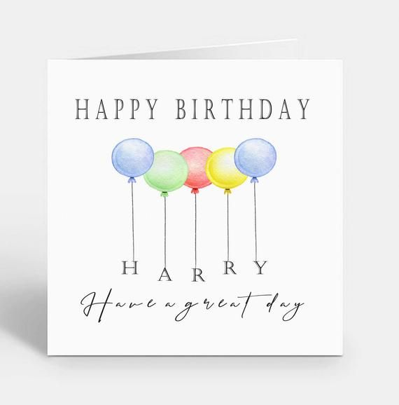 NEW! Personalised Balloon Birthday Card - Any Wording
