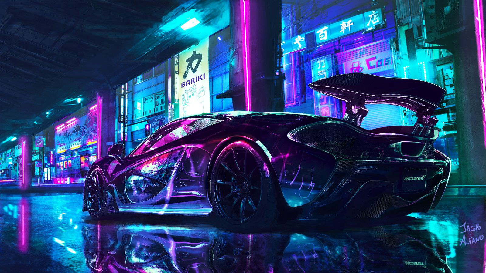 Cyberpunk Supercar Jacopo Alfano On Artstation At Https Www Artstation Com Artwork Y3bzk Neon Car Super Cars Supercars Wallpaper