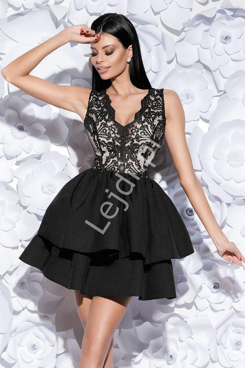fac9334f43 Czarno biała sukienka wieczorowa z falbanami