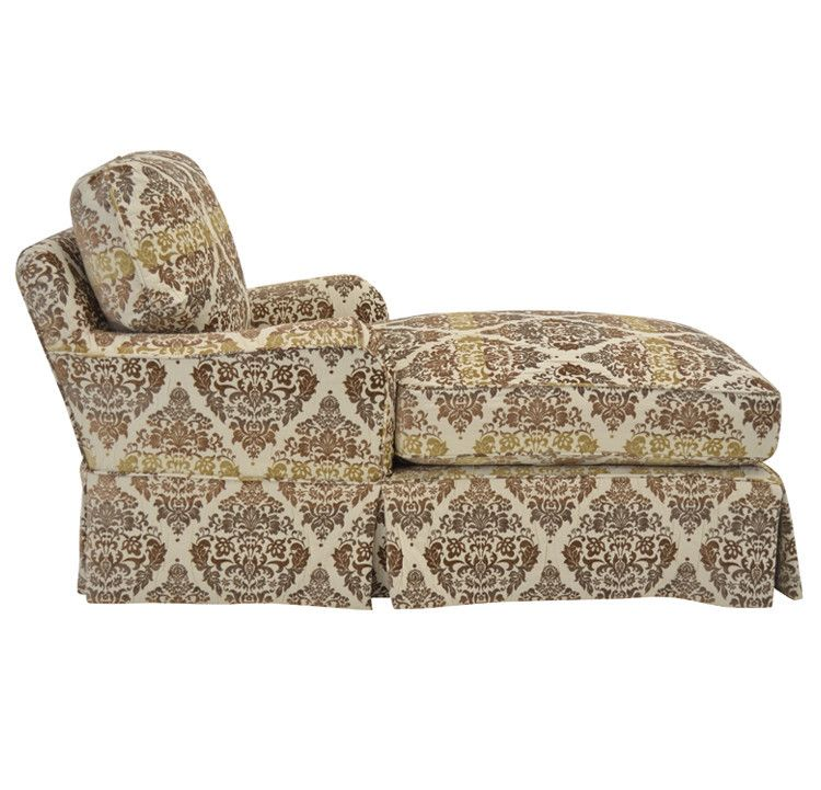Quatrine Furniture   Milan Slipcovered Chaise In Ombre Damask Fabric